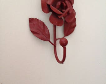 Wine Colored Painted Rose Hook