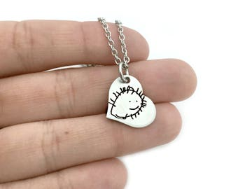Child's Artwork Tiny Heart Necklace - Children's Drawing Necklace - Actual Handwriting Necklace - Personalized Jewelry - Keepsake - 1296