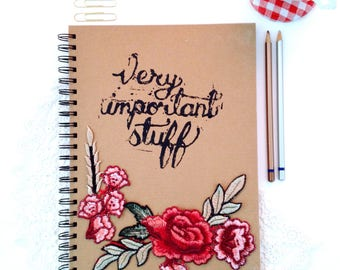 Hand printed floral rose patch large notebook journal diary