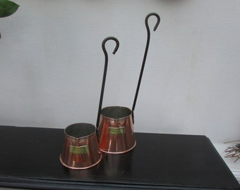 Two Vintage Cider Measures in Copper -1 cup and 2 cup Measures