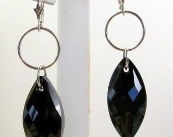 Swarovski Crystal and Sterling Silver Earrings, Handmade Jewelry, Swarovski Black Crystal Earrings, Crystal Earrings, Crystal and Sterling