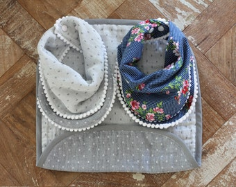 Infinity Scarf Bibs and Burp Cloth Set (Little Lady Set)