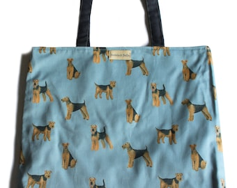 Airedale and Welsh Terrier Print Cotton Shopper Bag