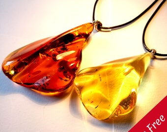 Natural Baltic Amber Pendant Necklaces with Big and Small Pieces Various Shapes and Sizes Silver Sterling Leather