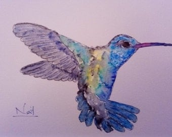 Original Ink Drawing of Hummingbird
