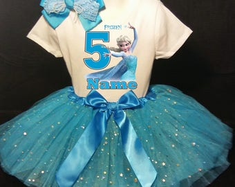FROZEN***With NAME*** Elsa 5th fifth 5 Birthday  Tutu Dress  Fast Shipping party Shirt & Tutu outfit Turquoise blue Personalized