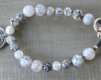 Agate gemstone bracelet D monogram, Woman's bracelet, White bead bracelet