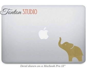 Gold Elephant Macbook Decal Sticker - Laptop Notebook Macbook Air Pro - Removable Vinyl Sticker - Macbook 11 12 13 15 17 - G001-gd