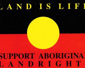 Aboriginal Landrights - 1988 - Leeds Postcard