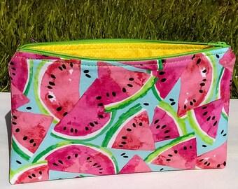 Watermelon Zipper Pouch, Cosmetic bag, Toiletry zipper bag, Purse organizer
