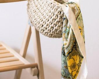 Crochet Storage Basket Knitted Yarn with One Handle/ Вязаная корзина для хранения из трикотажной пряжи с одной ручкой