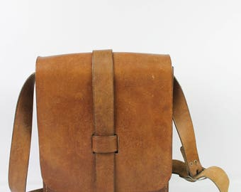 VINTAGE bag leather thick handmade Brown