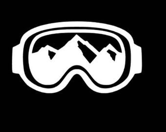 Goggle Decal, Mountain Decal, Snowboard Decal, Gift for Snowboarder, Goggles with Mountains, Goggle Sticker, Boarding Decal