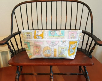 Ready to  Ship OWLS Spring Zippered Cosmetic multi use Bag