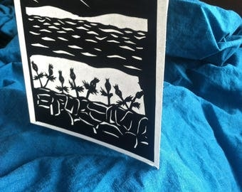 Papercut Greeting Card --thistle