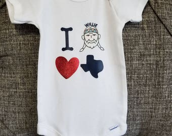 Baby clothing - Baby onesies, I Willie love Texas onesie, willie nelson baby clothes, willie nelson clothing