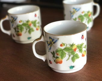 Ardalt Lenwile Hand Painted China - Strawberries, Butterflies, Ladybugs - Made in Japan