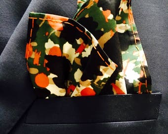 Green, orange, black silk pocket square