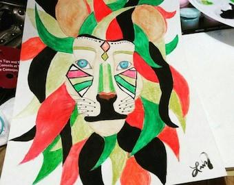 Water color rasta lion of Judah