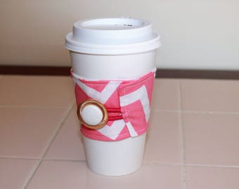 Coral Pink Chevron Reusable Coffee Sleeve with White and Gold Button