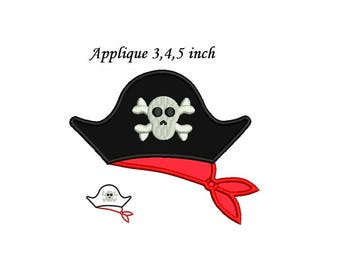 Pirate Hat Applique Embroidery Design - 3 sizes Instant download