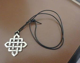 Silver Celtic Knot Pendant on Leather Cord