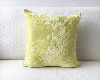 Lemon Yellow Velvet Pillow Cover, throw pillow cover 12x12 16x16 18x18 20x20 Yellow silk velvet pillow, decorative throw pillow, pillowcase