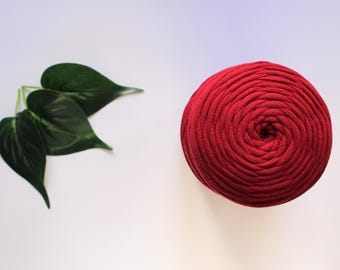 Burgundy T-shirt Yarn, 10 Metres Jewellery Yarn, Spaghetti Yarn, Fabric Yarn, Ruby Yarn, Fabric Cord, Textile Yarn, Jersey Yarn, Tarn