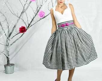 1950 Skirt, Maxi Skirt, High Waisted Skirt, Plus Size 1950 Skirt, Gingham Skirt, Full Midi Skirt, 1950 Dress, Skirt with Petticoat, Pin up