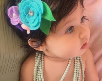 Felt Floral Hair Clip with pearl and bling deatils