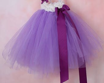 Tulle Tutu Girls dress and small fabric flower
