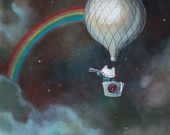 Cat in hot air balloon limited edition reproduction
