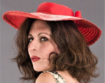 Vintage 1940's Red Woven Straw WIDE BRIM Hat / 40s ROCKABILLY Wide Brimmed Straw Hat