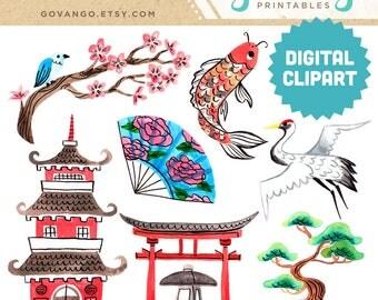 ZEN GARDEN Digital Clipart Instant Download Illustration Watercolor Japanese Asia Chinese Oriental Spa Floral Nature Koi Pagoda Crane Art