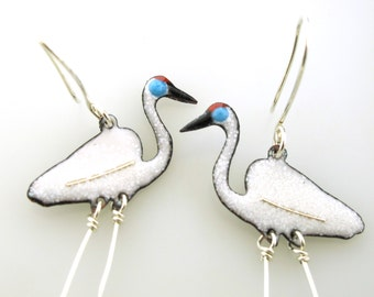 Crane Earrings, enameled bird earrings by Kathryn Riechert, bird jewelry, white crane, long earrings, coastal bird earrings, animal jewelry