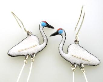 Crane Earrings, enameled bird earrings by Kathryn Riechert, bird jewelry, white crane, long earrings, coastal bird earrings, animal jewelry