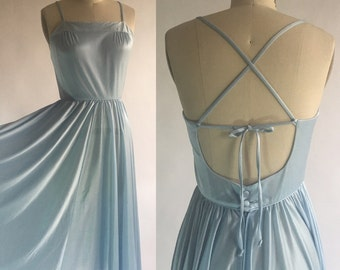 1960s Pale Blue Lanz Halter Tie Back Dress