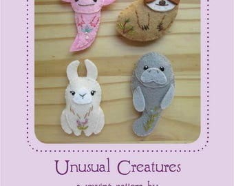 Mini Felt Unusual Creatures plush Set 4 PDF sewing pattern felt animal patterns ornaments
