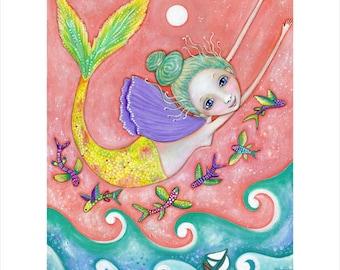 Mermaid Wall Decor A3 Size Flying Mermaid Art Print Nurseryflying fish Mermaid ocean Art painting Gift for Friend gift for mermaid lover