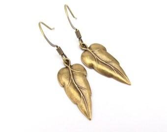 Art Deco Earrings, Dainty Earrings, Leaf Dangle Earrings, Antiqued Gold Brass Earrings, Bridesmaid Gift, Bridal Jewelry, Wedding Jewelry