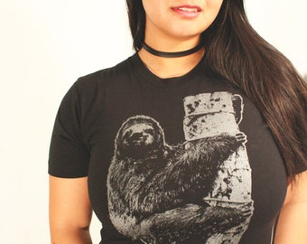 sloth t shirt, womens sloth tee, sloth tee, womens black tee, womens t shirt, graphic tee, t-shirt, American apparel S-XXL