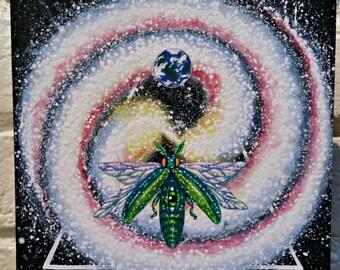 "Earth-Galaxy Pop Surrealism Original Acrylic Painting 6x6""-By Alexandria Sandlin Cherrybones"