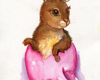 Easter Bunny Watercolor Painting Original, pink Easter egg artwork  5 x 7 watercolor rabbit  painting