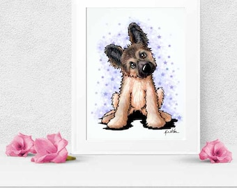 Choice of KiniArt German Shepherd Puppy Dog Art PRINT Signed