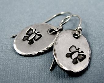 Butterfly Dangle Earrings - Sterling Silver Stamped Butterflies - Handmade Dangle Earrings