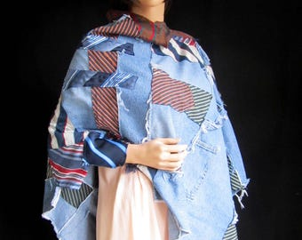 Poncho Shawl One Size Blue Jeans Striped Repurposed Apparel Upcycled Neckties Wrap Long Oversized Large Warm Funky Unique Red White Denim