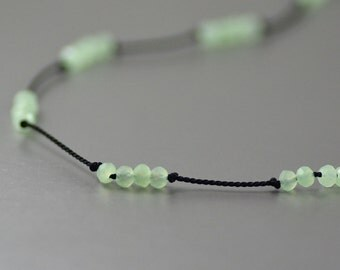 Delicate Short Layering Necklace Featuring Opalite Crystals in Pale Seafoam Green Hand-knotted on Pure Silk Cord