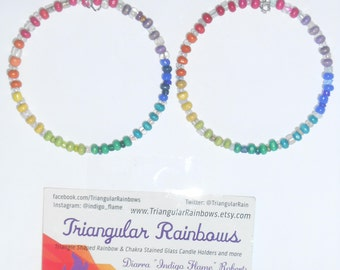 Chakra/ Rainbow Hoop Earrings Glass & Wood Beads