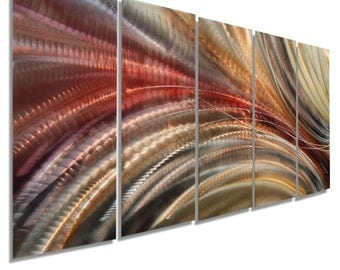 Red, Gold & Brown Contemporary Wall Sculpture, Modern Metal Wall Art, Home Decor, Abstract Painting - Cosmic Significance by Jon Allen
