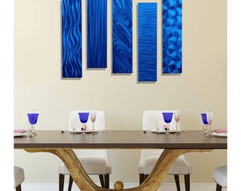 SALE! Blue Modern Metal Wall Art, Set of 5, Abstract Wall Accent, Contemporary Home & Office Decor - 5 Easy Pieces Blue by Jon Allen